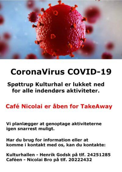 Corona virus Covid-19 plakat lukket aflyst marts2021